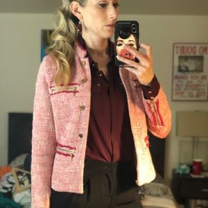 ZARA Basic tweed blazer with CHANEL buttons - M